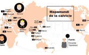 Mapa de porcentaje de calvos en el mundo según países