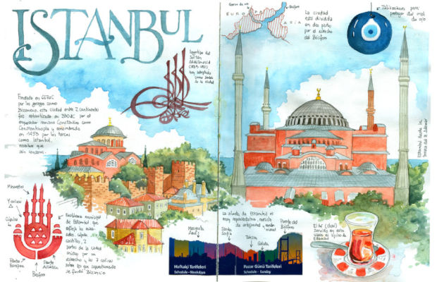ilustración lugares turísticos de Estambul